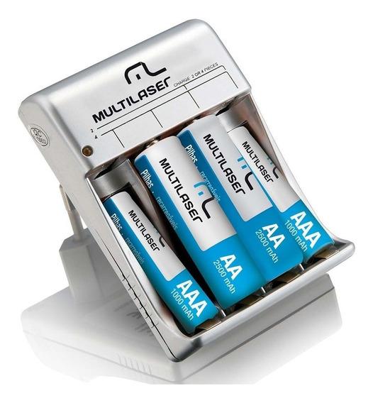 Carregador De Pilhas Multilaser Aa/aaa C 4 Pilhas Cb045