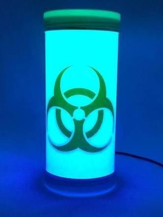 Luminária Abajur De Led Símbolo Risco Biológico Verde Neon