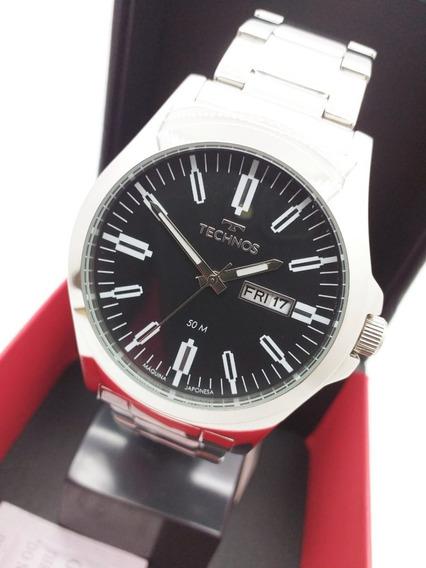 Relógio Technos Masculino Prateado E Preto- 2305ax/1p