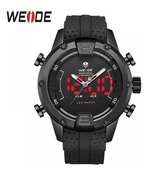 Relógio Pulseira De Silicone Preta Display Analógico Wh-7301