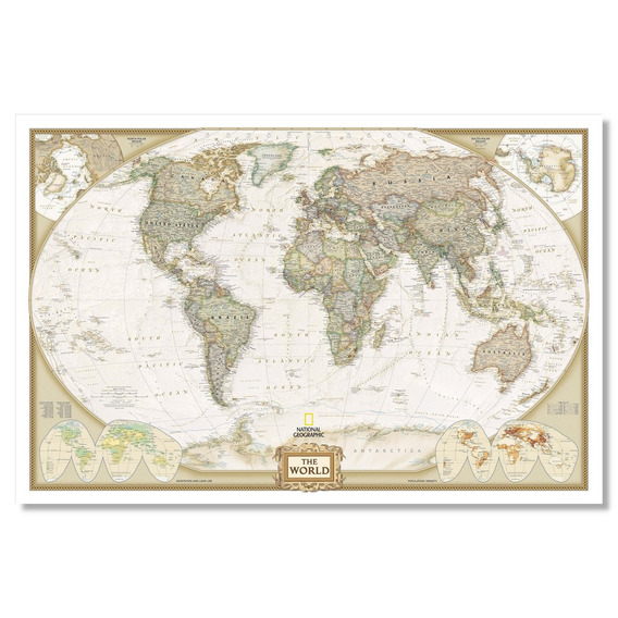 Mapamundi Planisferio Político Vintage 92cmx61cm