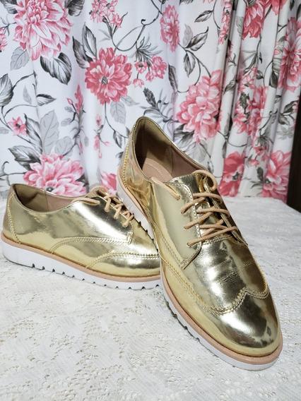 Sapato Ramarim Oxford Dourado Tamanho 39
