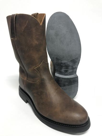 Bota Texana Country Masculina Jácomo Rústica Marrom Rústica Bico Redondo 100% Couro - Costura Reforçada
