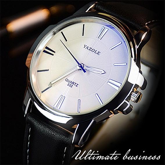 Relógio Masculino Luxo Yasole Couro Social Promoção Barato