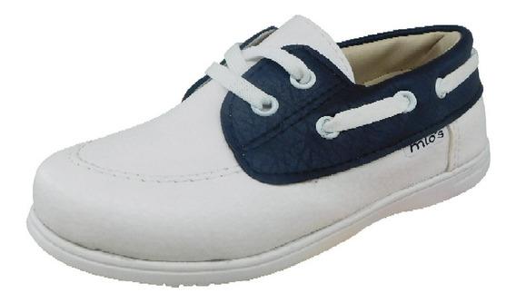 Zapato Nautico De Vestir Para Niños Blanco Mio´s, 21 Al 26.