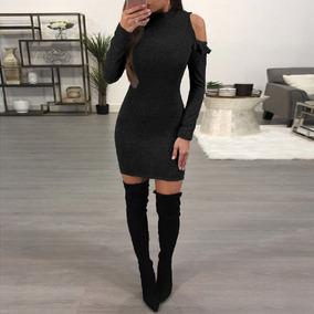 Sexy Mujeres Mini Bodycon Vestido Estar De Pie Collar Largo