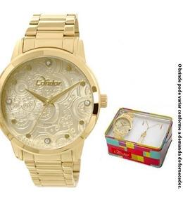 Kit Relógio Feminino Condor Serena Co2036cl/k4x - Dourado