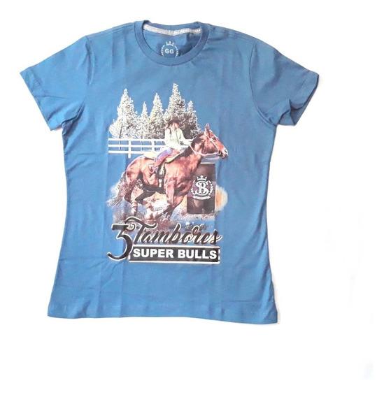 Blusa Fem Malha Country Super Bulls Azul 3 Tambores T-shirt