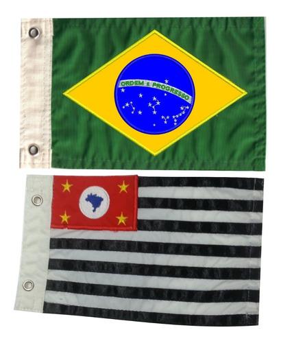 Bandeira Para Moto Bordada Dupla Face Kit Com 02 Peças