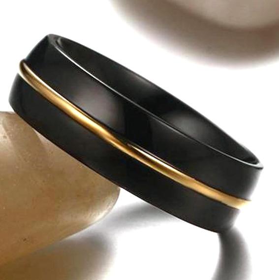 Anel Aliança Aço Preto Com Dourado - Noivado Presente