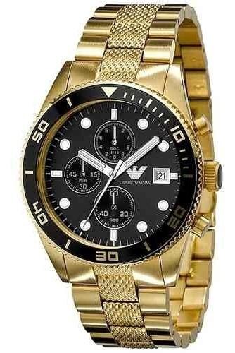 Reloj Emporio Armani Ar5857 Cronógrafo De Acero Dorado Nuevo