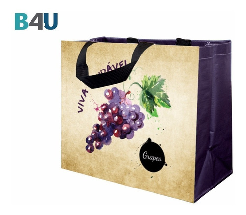 100pcs Ecobags Coleção Frutas - Sacola De Ráfia B4u Bags
