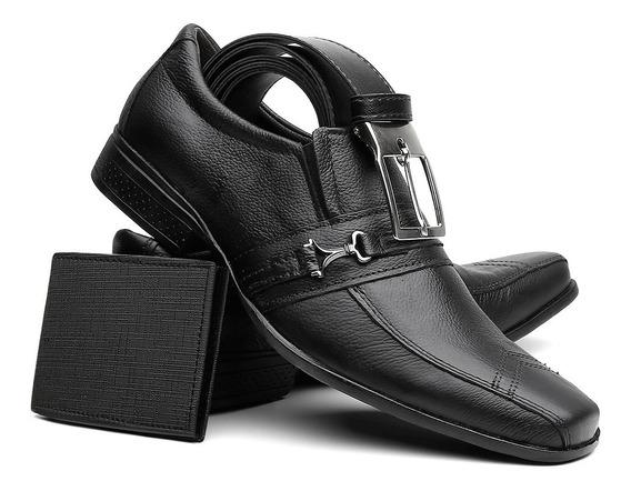 Sapato Social Masculino Em Couro Legitimo + Cinto + Carteira