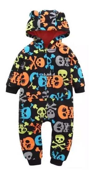 Macacão Bebê Fleece Soft Com Capuz Rock