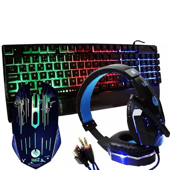 Kit Gamer Hz28 Teclado Led Rgb Mouse 6 Botões E Headset Led