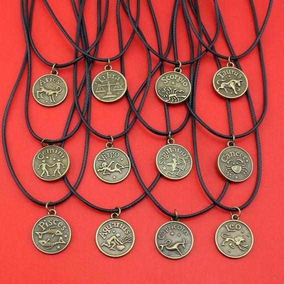 Cordão Colar Signos Zodíaco Bronze Frete Barato