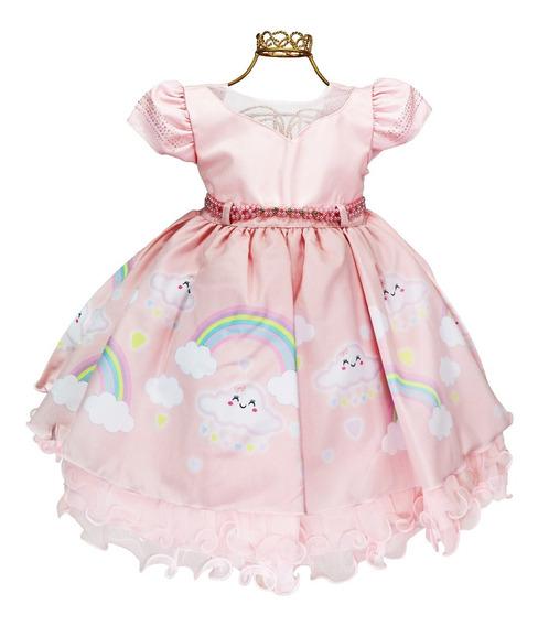 Imperdível Vestido Infantil Rosa Chuva De Amor Luxo Festa