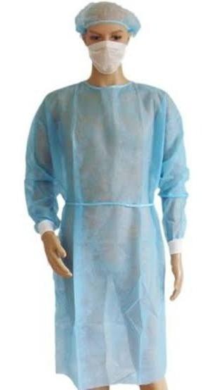Bata Cirujano Desechable 15 Grms Azul Con 100 Pz, Y Puño