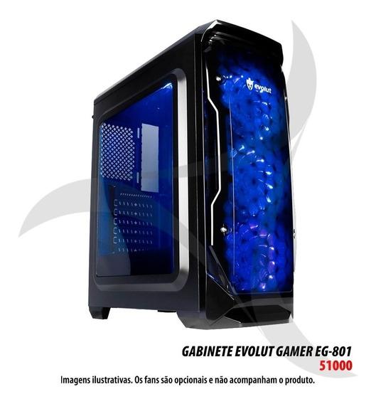 Gabinete Gamer Para Desktop Evolut Eg-801 Halo Bk