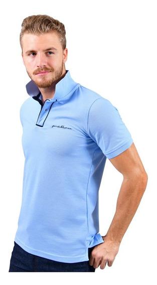 Playera Porto Blanco Polo Camisa Lisa Azul Cielo