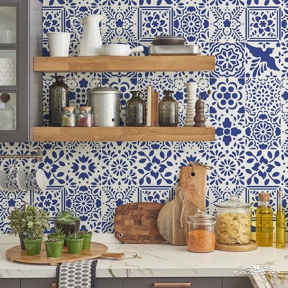 Stencil Mosaicos C Talavera Plantilla Decorativa Para Pintar