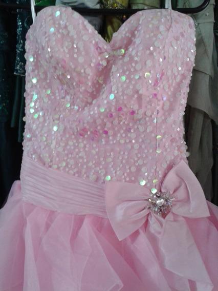 Vestido Debutante Voal C/ Paetê Rosa P 36 38