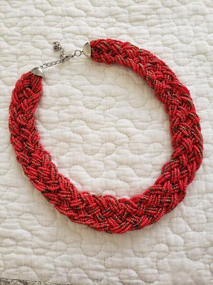 Gargantilla De Chaquira Rojo