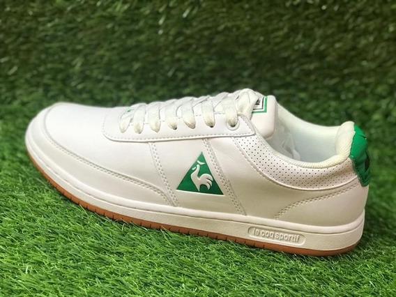 Tenis Le Coq Sportif Cuero Blanco Verde Original Envgratis