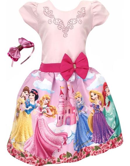 Vestido Princesas Rosa + Tiara Brinde