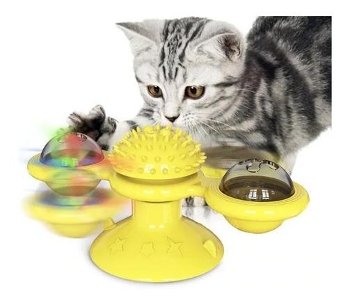 Imagem 1 de 10 de Brinquedo Giratorio Para Gato Com Ventosa Luz E Catinip