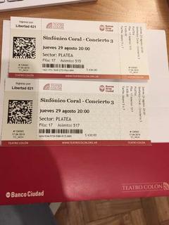 Entradas Teatro Colón - Sinfónico Coral Concierto 3 (29/08)