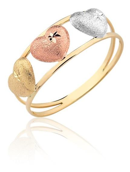 Anel Coração Três Cores Ouro 10k A48