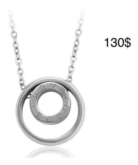 Cadena Collar Con Dije Circular, Chapa De Rodio