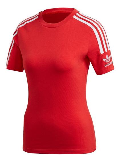 Remera adidas De Mujer 3 Tiras Ajustada Roja