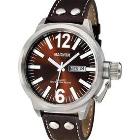 Relógio Masculino Magnum Ma31524v Original Pulseira Couro