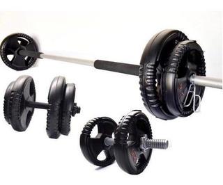 Combo Barra + 2 Mancuernas + 30kg - Gimnasio - Tf Deportes