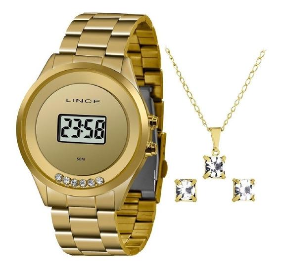 Relógio Lince Feminino Digital Dourado Sdg4610l Bxkx