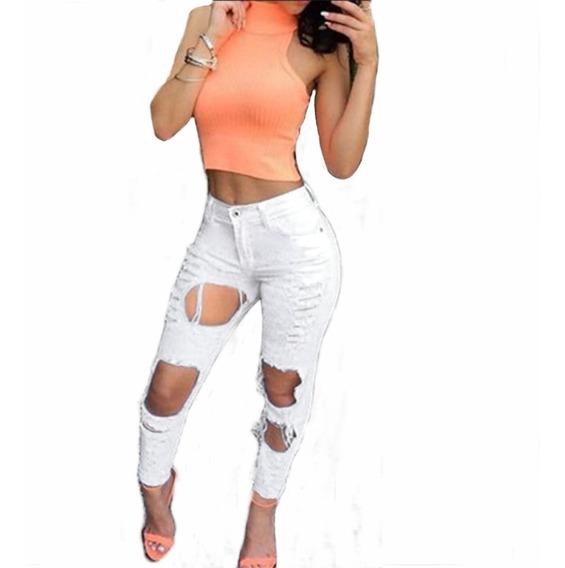 Roupas Feminina Calça Jeans Detonada Cintura Alta Dins Lycra
