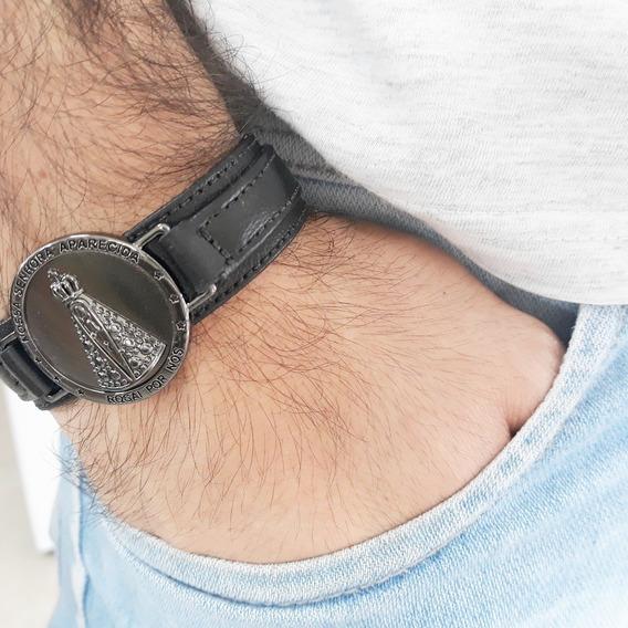 Pulseira Bracelete Couro Magnético Nossa Senhora Aparecida
