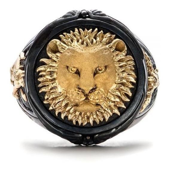 Anel Masculino Leão Dourado Ouro 14k