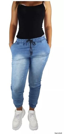 Calças Jeans Sarja Feminina Jogger Com Punho Elastico