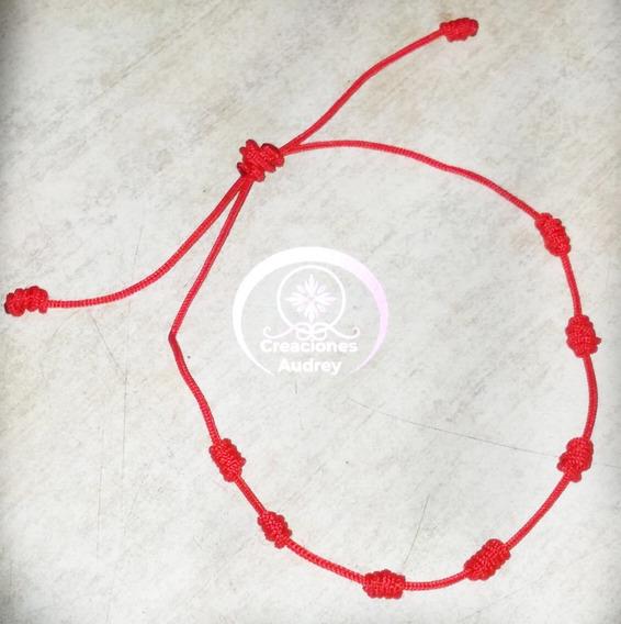 Pulsera 7 Nudos Buena Suerte Protección Mal De Ojo Hilo Rojo