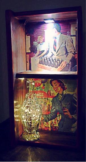 Coca Cola Vintage - Prateleira De Parede Com Iluminação