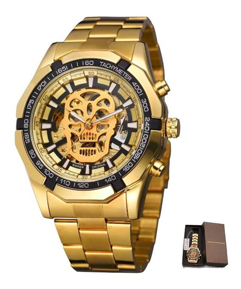 Reloj Winner Skeleton Automático Calavera Hombre Skull T5