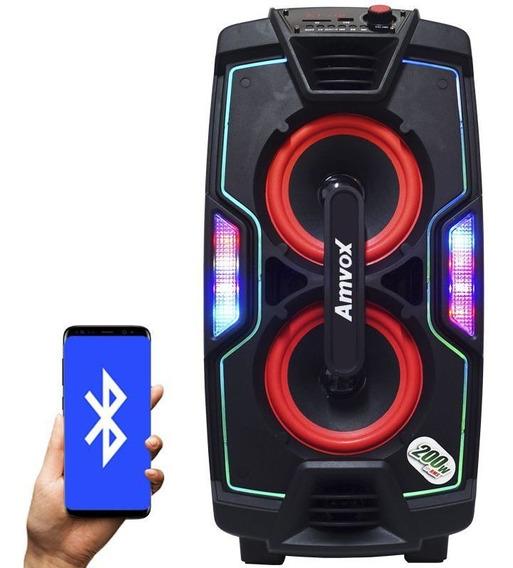 Caixa Som Bluetooth Amplificada 200w Mp3 Portátil Led 2 Sub