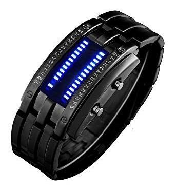 Reloj Para Hombre Impermeable Binary Matrix Azul Led Digit