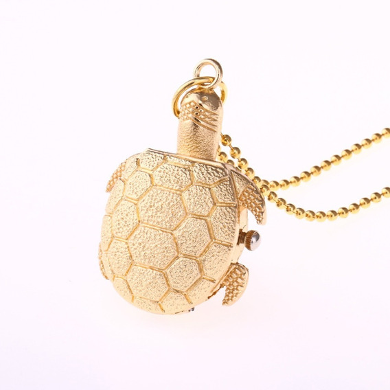Relógio Colar Barato Feminino Tartaruga Analógico Dourado