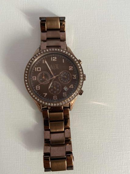Relógio Armani Exchange Feminino Marrom Com Strass