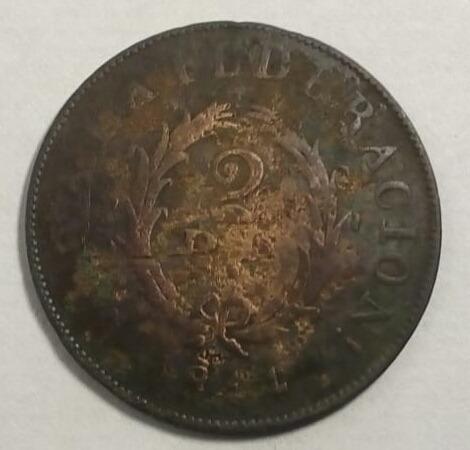 Moneda Buenos Aires 2 Reales 1844 Epoca Rosas