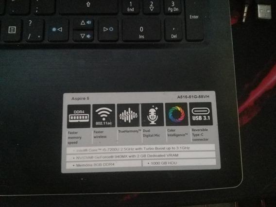 Notebook Gamer Acer Aspire A515 51g 58vh